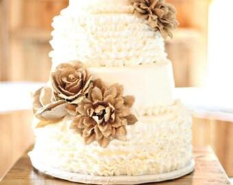 6 BURLAP FLOWERS + Love Cake Topper Rose Flower Jute Rustic Chic Country Barn Primitive Woodland Vintage Wedding Shabby Chic Bridal Shower