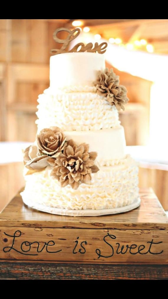 Sale WOOD LOVE Rustic Cake Topper and 3 Burlap Flowers Script