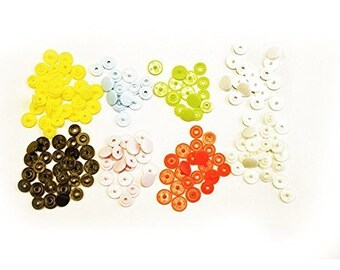Button Stud Closures - Kam Snaps T3 - Size 16 - Snap Fasteners in 8 Colours - 160 Pieces - 10.7mm