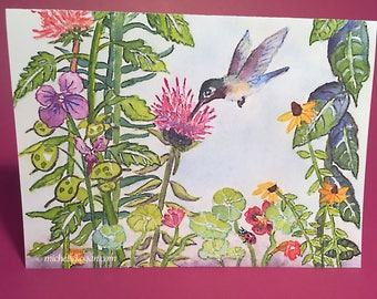 Little Ditty Hummingbird Greeting Card, by Michelle Kogan, Birthday Card, Thank You Card, Get Well Card, Just Because Card, Watercolor