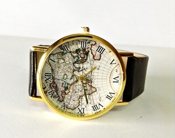 World map watch etsy mens watch world map watch watches for men vintage style leather watch gumiabroncs Image collections