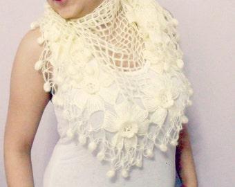 Ivory  cream   Wedding  crochet shawl - Bridal shawl -  Flower Mohair Triangle Shawl , bridesmaids wedding  , fur shawl ,  shawl wrap , ,