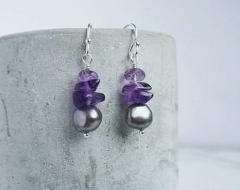 Amethyst earrings with Freshwater Pearls and Sterling Silver