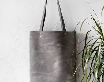 Distressed Light Grey Leather Tote bag No.Tl- 17064