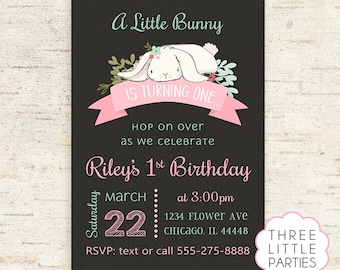 Bunny Birthday Invitation, Girl Bunny Printable Birthday Invitation, Bunny Party, Personalized, Some Bunny
