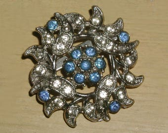 Vintage Art Deco Blue and White Rhinestone Crystal Floral Burst Marcasite Silver Tone Brooch Pin