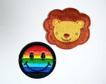 fusible patch, badge * Rainbow lion or smile * 6/4.7 cm