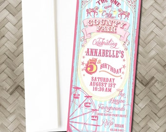 Vintage Ferris wheel Invitations and Thank You cards