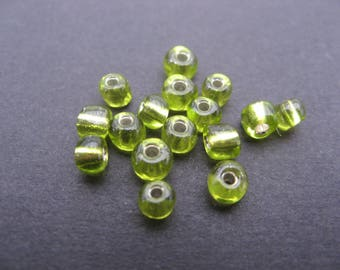 Seed beads 4 mm olivine * 40
