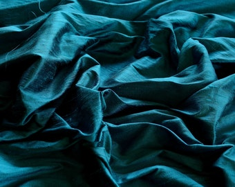 "Iridescent Teal Blue Dupioni Silk, 100% Silk Fabric, 44"" Wide or 54"" Wide, By The Yard (S-113)"