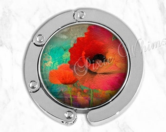 POPPY Purse Hook Tabletop Purse Hanger Watercolor Red Poppies Flower Art Purse Holder Bag Hook Accessory Handbag Tote Hanger Valentine Gift