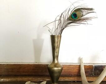 Vintage solid brass vase decor, bud vases etched detailed