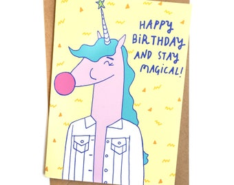 Happy Birthday Greeting Card // Unicorn Magic