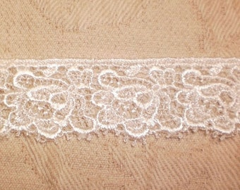 Venice LACE 10 yd Embroidery Lace Trim Yardage Flower for Applique Embellishments Snow White USA Made Scalloped Venise Lace