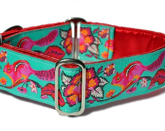 Martingale Dog Collar or Buckle Dog Collar - Custom Dog Collar - Wide Martingale Collar -  Cheery Chipmunk Jacquard in Turquoise - 1.5 Inch