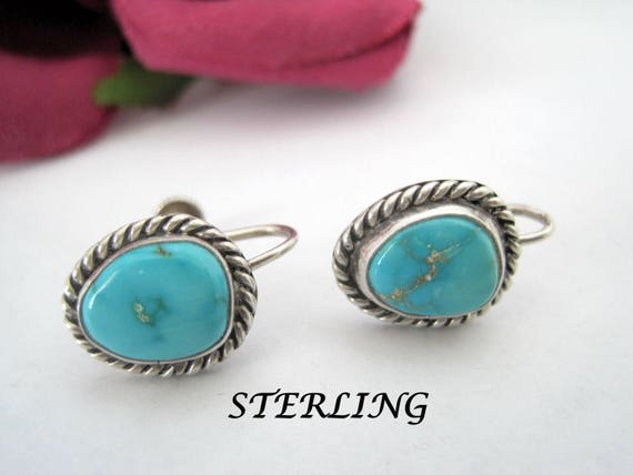 Native American Earrings, Sterling Turquoise, Southwestern, 40's  Screw Backs