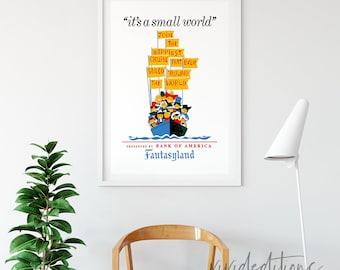 Disneyland Poster, Vintage It's A Small World Fantasyland Attraction Poster, Nursery, Kids Playroom Art Print Home Decor Wall Art Not Framed