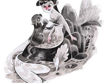 Mermaid original artwork, one of a kind mermaid, illustration, fairytale, ooak mermaid, mermaid decor, mermaid art
