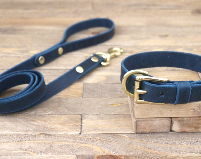Dog collar, Dog leash, Set, Deep ocean, Brass hardware, FREE ID TAG, Collar and leash, Handmade leather collar, Leather leash, Puppys.