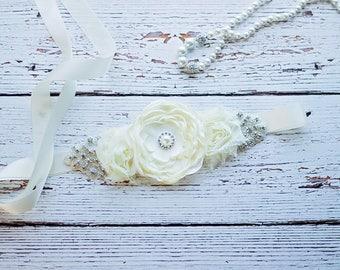 Rustic Bridal Belt Sash, Ivory Bridal Sash,  Flower girl Sash belt,  Bridal Sash, Bridesmaid Sash/Belt, Maternity Sash, Maternity belt