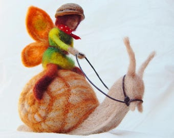 Fairy riding a Snail Needle felted figure - Racing Snail - artists doll
