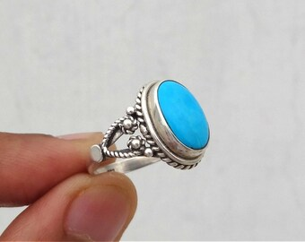 Turquoise ring, ,92.5% sterling silver ring, silver ring,solid sterling silver ring,natural turquoise ring(All sizes available)