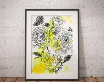 British yellow rose ink illustration with lemon-yellow watercolor structures