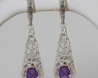 925 Sterling Silver Amethyst Briolette Earrings
