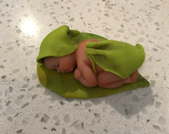 Miniature OOAK woodland baby of polymer clay