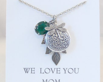 May Locket,Emerald Dragonfly,Emerald Necklace,Emerald Jewelry,Birthstone Necklace,Green,Birthstone Jewelry,May Birthstone,Emerald Birthstone