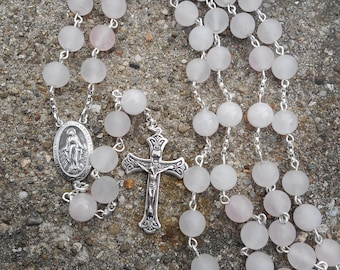 Sterling Silver Rose Quartz Rosary - handmade - free shipping - on sale