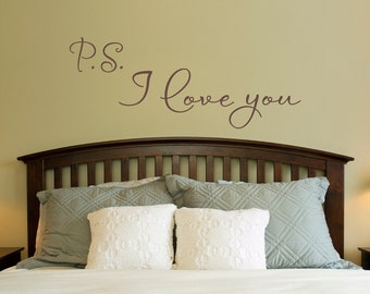 P.S. I Love You Wall Decal - Love Decal - Bedroom Wall Sticker - Large