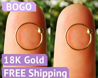 2 Nose rings 18K gold nose ring nose hoops stud 18K gold nose stud nose ring stud small gold nose ring 18k gold nose piercing nose jewelry