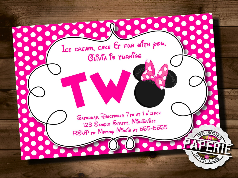Pink Polka Dot MINNIE MOUSE Second Birthday Invitation Minnie