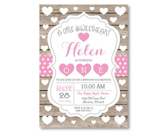 Valentine Birthday Invitation. Our Little Sweetheart Birthday Invitation. Rustic Wood. Girl or Boy 1st First Birthday. Printable Digital.