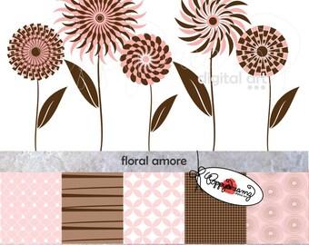 Floral Amore Paper and Elements SET: Digital Scrapbook Paper Pack (300 dpi) Wedding Bridal Baby Shower Floral Brown Pink