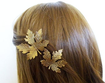 Maple Leaf Hair Accessories Brown Clips Rustic Bridal Barrettes Nature Autumn Fall Bride Bridesmaid Woodland Weddings Womens Gift For Her