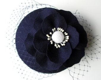 Navy Fascinator - Navy Hat, Wedding Hat, Wedding Fascinator, Wool Felt Hat, Felt Fascinator, Poppy, Cocktail Hat, Vintage Hat, 50s Style