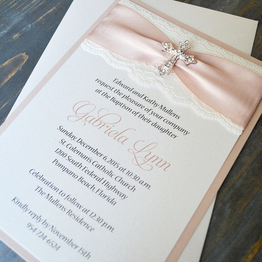GABRIELA - Lace Baptism Invitation - Ivory Lace with Rhinestone ...