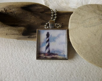 Cape Hatteras Lighthouse Necklace Handmade with Watercolor Art Print in a Pendant