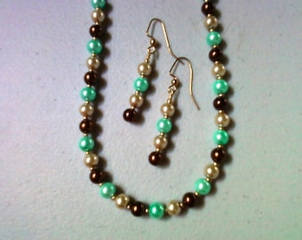 Chocolate Brown, Teal and Tan Pearl Necklace and Earrings (0415)