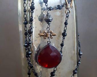 RESERVED FOR SUSAN - Garnet Hyrdroquartz Pendant Necklace, Long Pendant Necklace, Long Black Chain, Fleur de Lis, Boho, Edgy, Gypsy, Goth