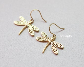 Dragonfly earrings in gold or silver, Insect earrings, Simple earrings, Bridesmaid earrings, Everyday earrings, Wedding earrings, gift