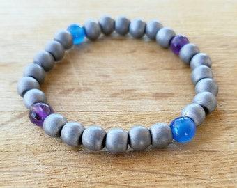 Matte Hematite & Gemstone Bracelet, Stretchy Bracelet, Amethyst Bracelet, Fortune Bracelet, Blue Agate, Valentine's Day, 5 Inches (approx.)