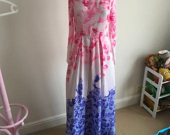 Vintage Vivid Pink Blue Purple Maxi Dress