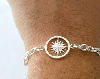 Sailor Compass Bracelet w. Heavy Sailors Link Sterling Silver - Compass jewelry - Nautical Jewelry - Bridal - Beach Wedding*