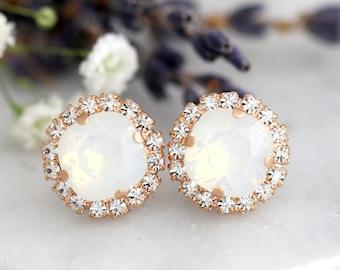 Opal Earrings, Bridal Opal Earrings, White Opal Swarovski Studs, Opal Gold Earrings, Bridesmaids Opal Earrings, Gift For Her, Opal Studs