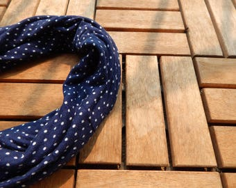 Royal Blue Polka Dot Scarf/Polka Dot Infinity Scarf