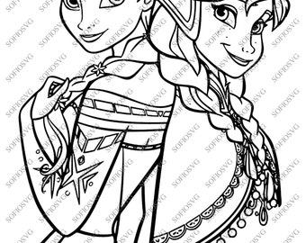 Elsa and Anna Svg Files - Disney Princess Elsa and Anna Clipart - Svg For Cricut - Svg For silhouette - Vector Graphics - DXF - EPS - PNG