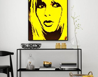 ORIGINAL Brigitte BARDOT Art Acrylic Painting Female Face Woman Painting Pop Art Painting Art Yellow Small Painting by Kathleen Artist